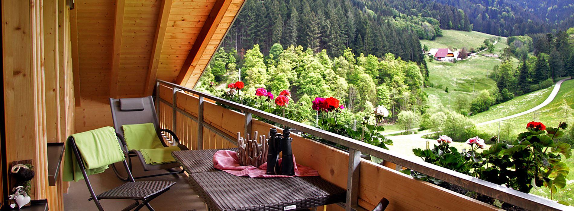 Balkon der Ferienwohnung mit Liegestuhl Sessel und Tisch, Geranien und Blick auf Bauernhof