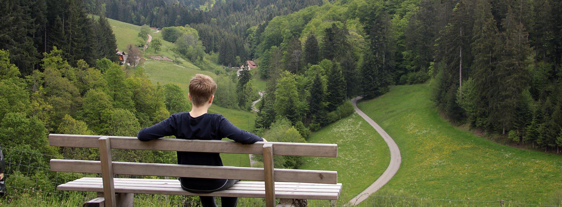 Junge auf einer Sitzbank mit Blick ins hintere Zuwälder Tal