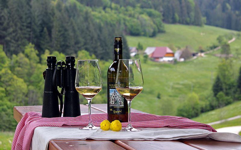 Weinflasche mit 2 Weingläser und Fernglas auf einem Tisch mit Blick ins hintere Zuwälder Tal
